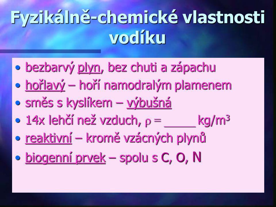 Fyzikálně-chemické vlastnosti vodíku