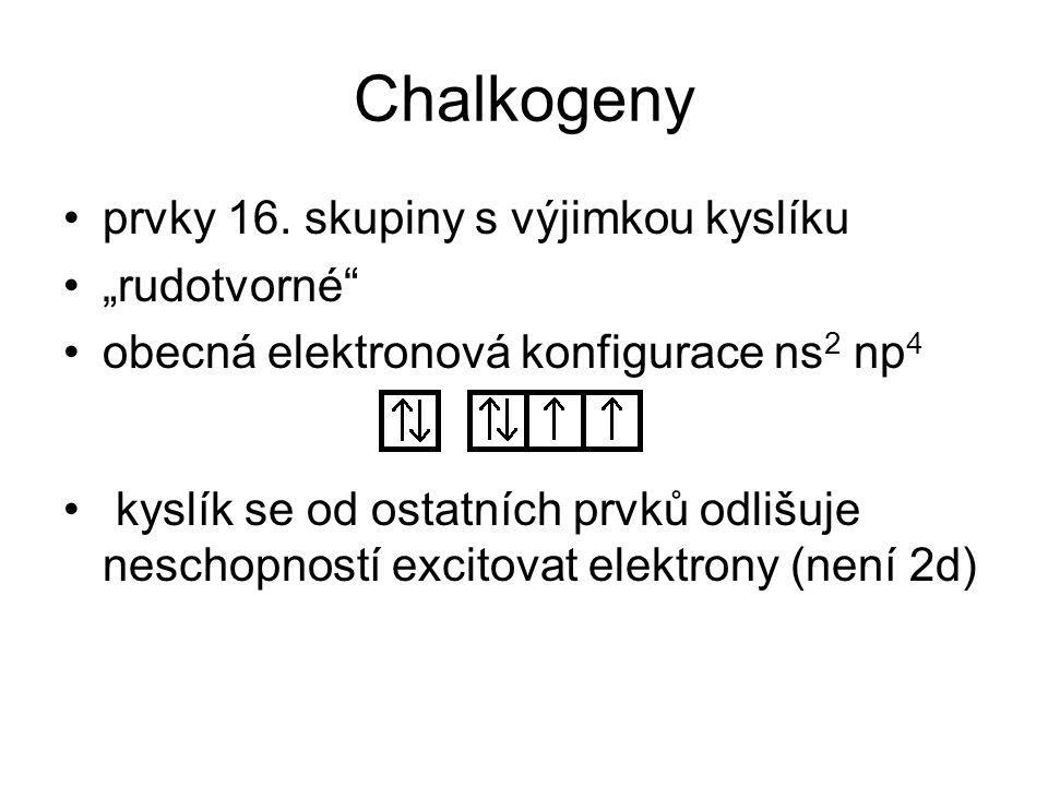 """Chalkogeny prvky 16. skupiny s výjimkou kyslíku """"rudotvorné"""