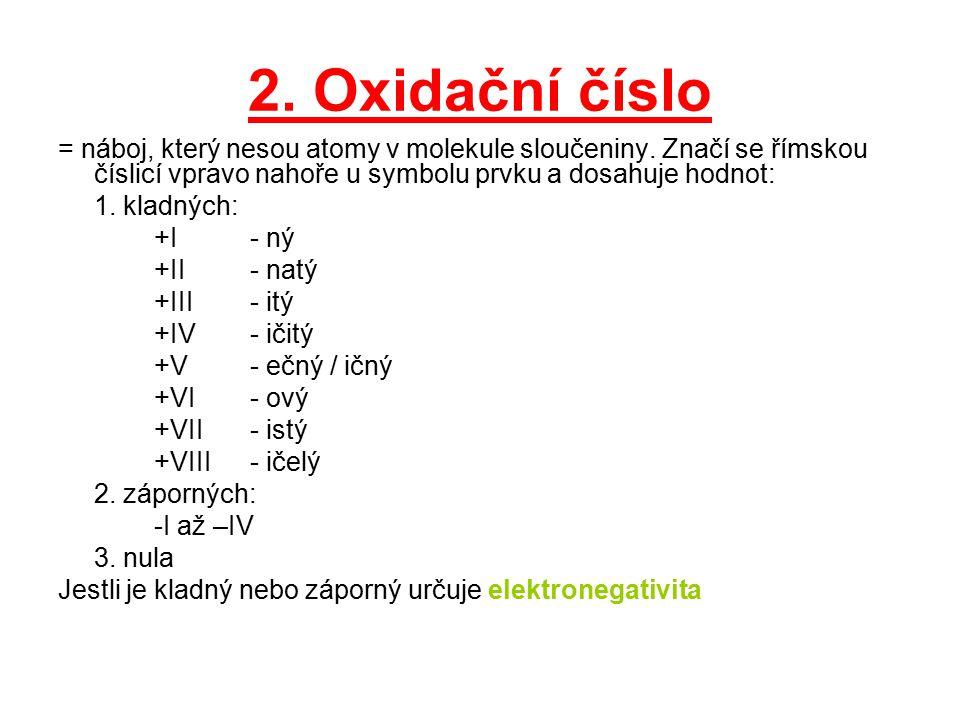 2. Oxidační číslo = náboj, který nesou atomy v molekule sloučeniny. Značí se římskou číslicí vpravo nahoře u symbolu prvku a dosahuje hodnot: