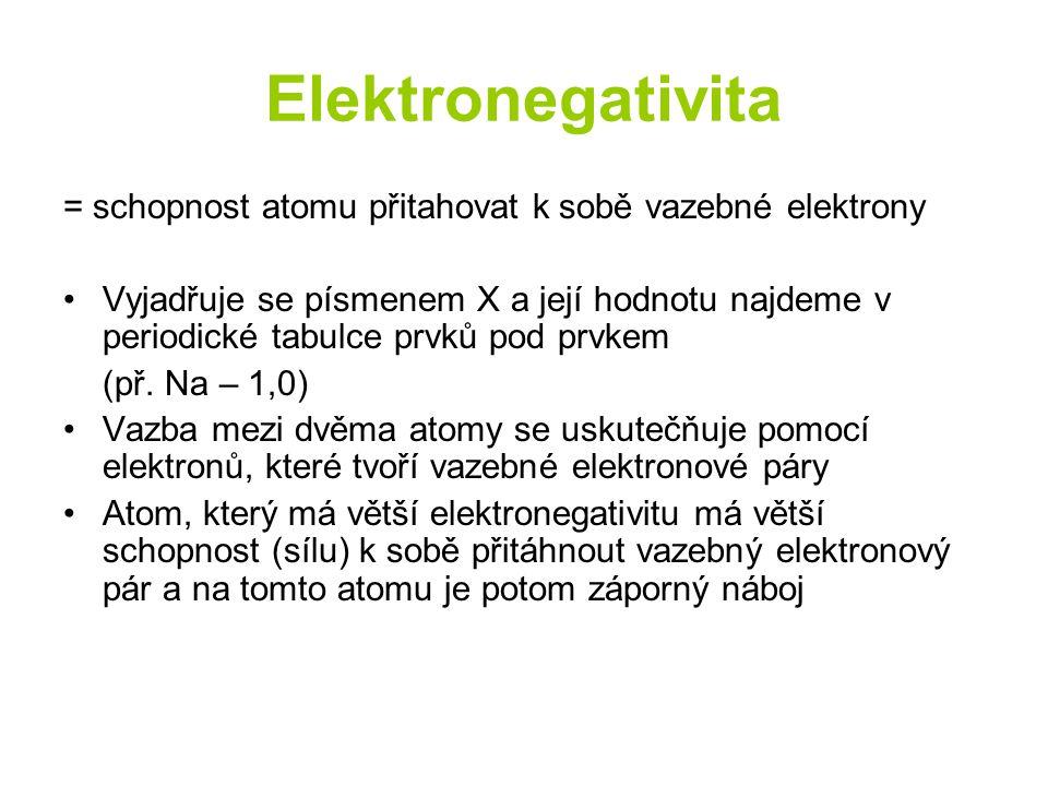 Elektronegativita = schopnost atomu přitahovat k sobě vazebné elektrony.