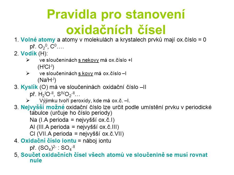 Pravidla pro stanovení oxidačních čísel