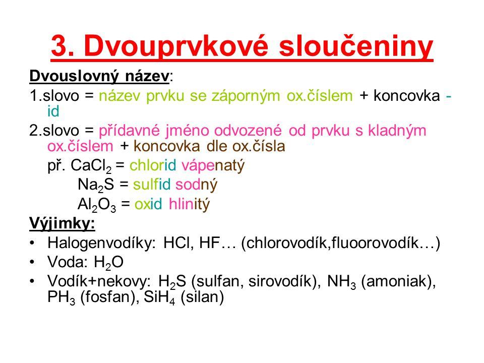 3. Dvouprvkové sloučeniny