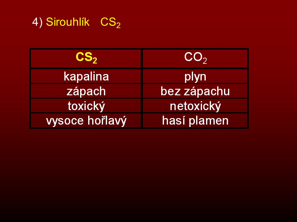 4) Sirouhlík CS2
