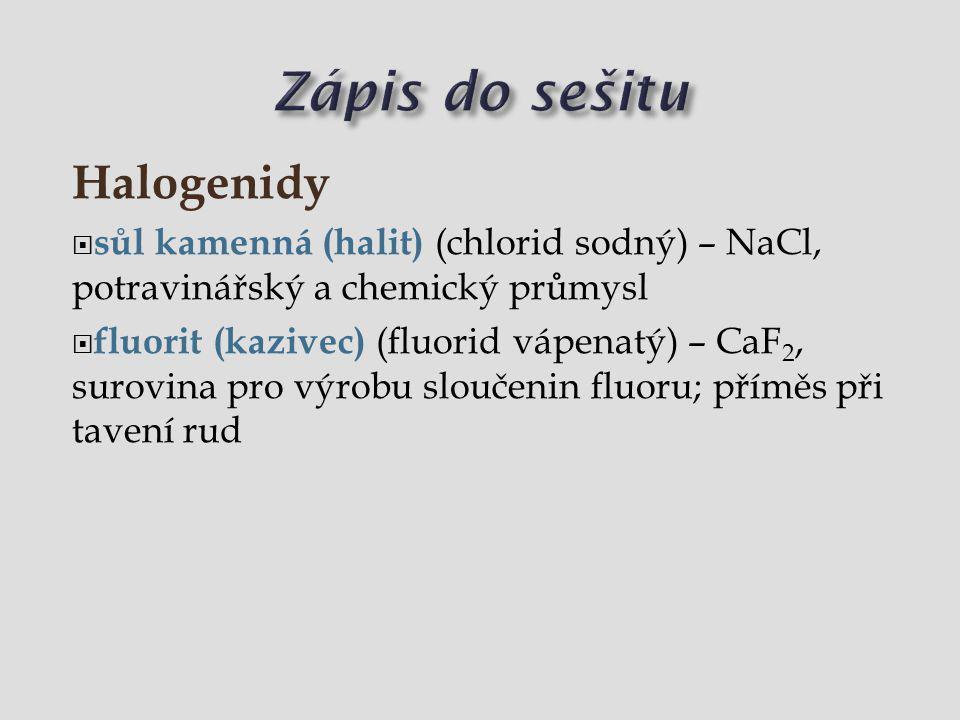 Zápis do sešitu Halogenidy