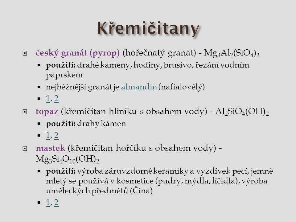 Křemičitany český granát (pyrop) (hořečnatý granát) - Mg3Al2(SiO4)3