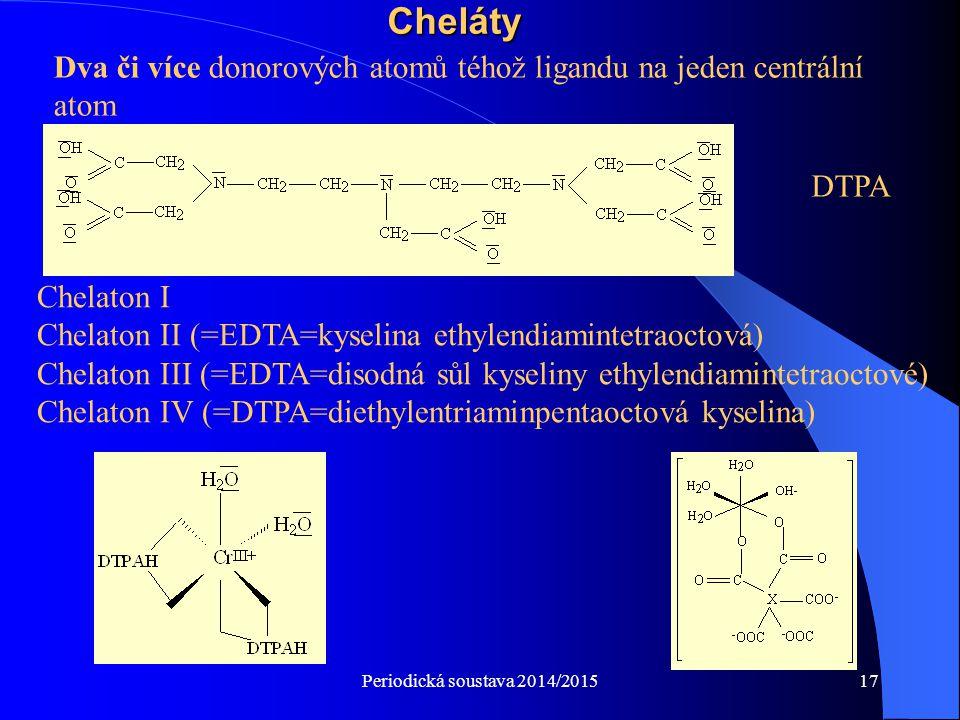 Cheláty Dva či více donorových atomů téhož ligandu na jeden centrální atom. DTPA. Chelaton I.