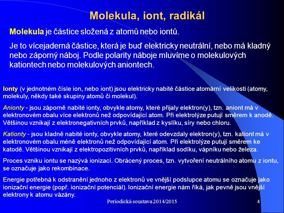 Molekula, iont, radikál Molekula je částice složená z atomů nebo iontů.