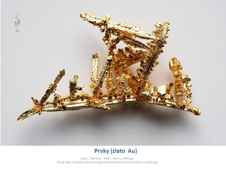 Prvky (zlato Au) Autor: Neznámý Název: Gold-crystals.jpg Zdroj: http://upload.wikimedia.org/wikipedia/commons/d/d7/Gold-crystals.jpg.