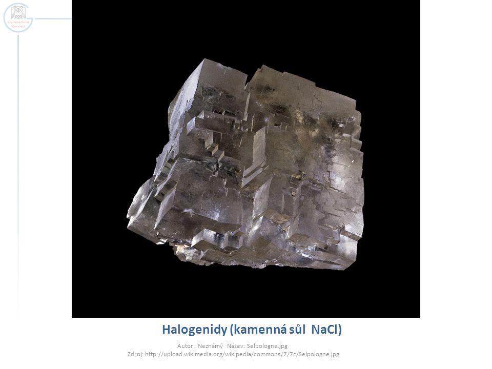 Halogenidy (kamenná sůl NaCl)