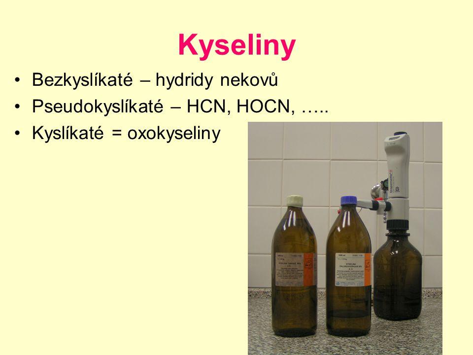 Kyseliny Bezkyslíkaté – hydridy nekovů