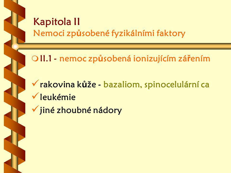 Kapitola II Nemoci způsobené fyzikálními faktory