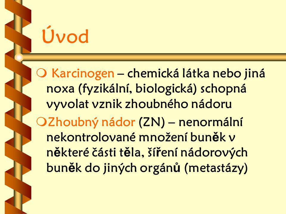 Úvod Karcinogen – chemická látka nebo jiná noxa (fyzikální, biologická) schopná vyvolat vznik zhoubného nádoru.