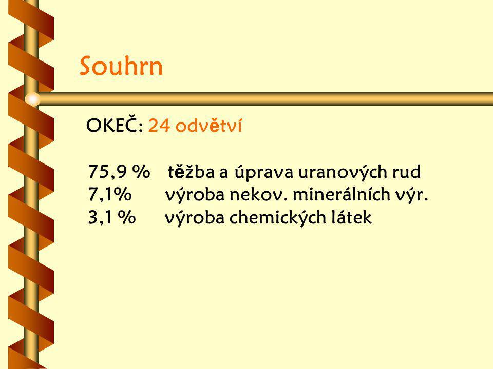 Souhrn OKEČ: 24 odvětví 75,9 % těžba a úprava uranových rud 7,1% výroba nekov.