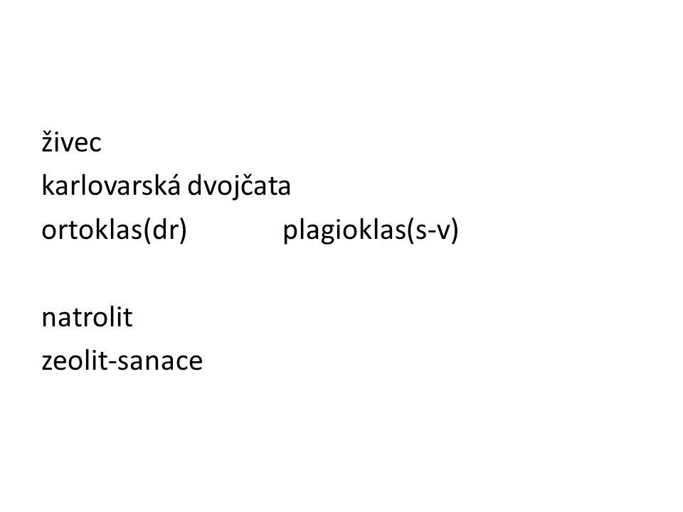 živec karlovarská dvojčata ortoklas(dr) plagioklas(s-v) natrolit zeolit-sanace