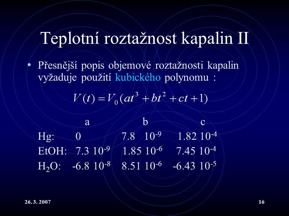 Teplotní roztažnost kapalin II