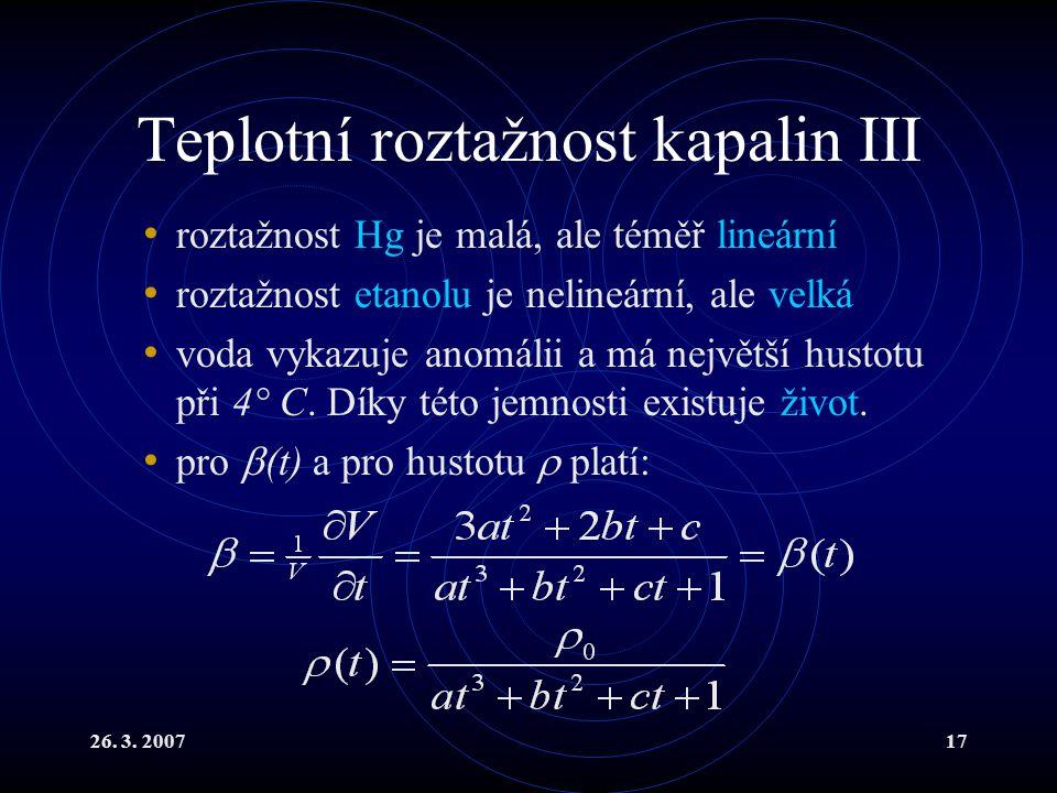 Teplotní roztažnost kapalin III
