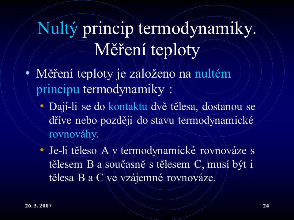 Nultý princip termodynamiky. Měření teploty