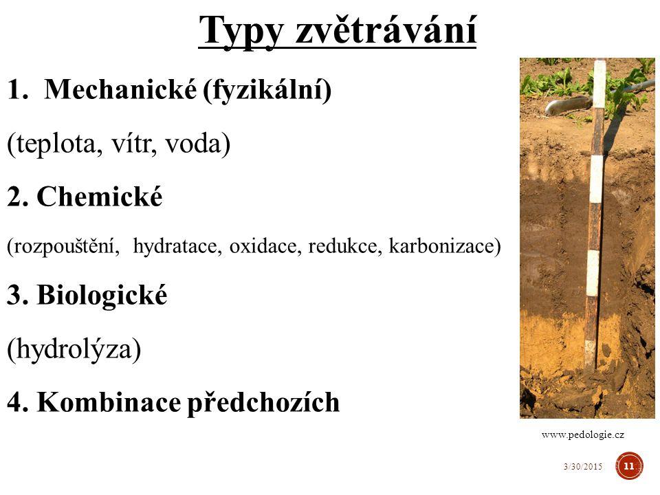 Typy zvětrávání Mechanické (fyzikální) (teplota, vítr, voda)