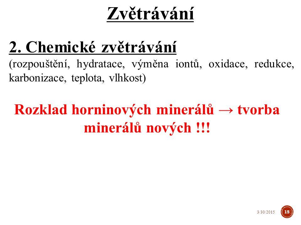 Rozklad horninových minerálů → tvorba minerálů nových !!!