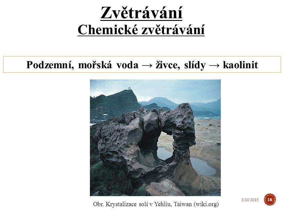 Podzemní, mořská voda → živce, slídy → kaolinit