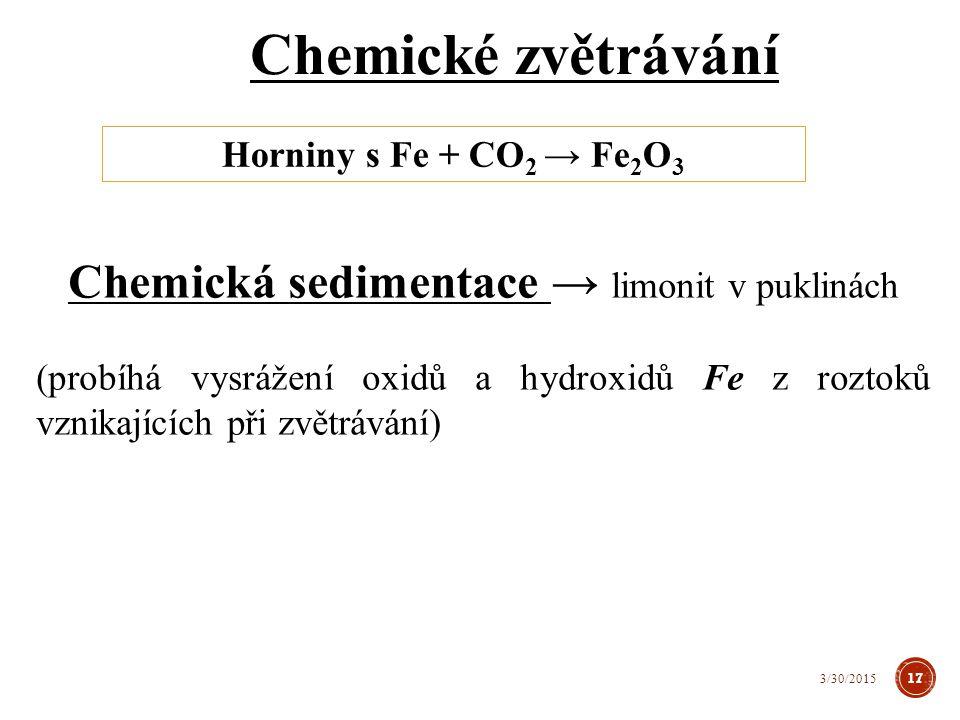 Chemická sedimentace → limonit v puklinách