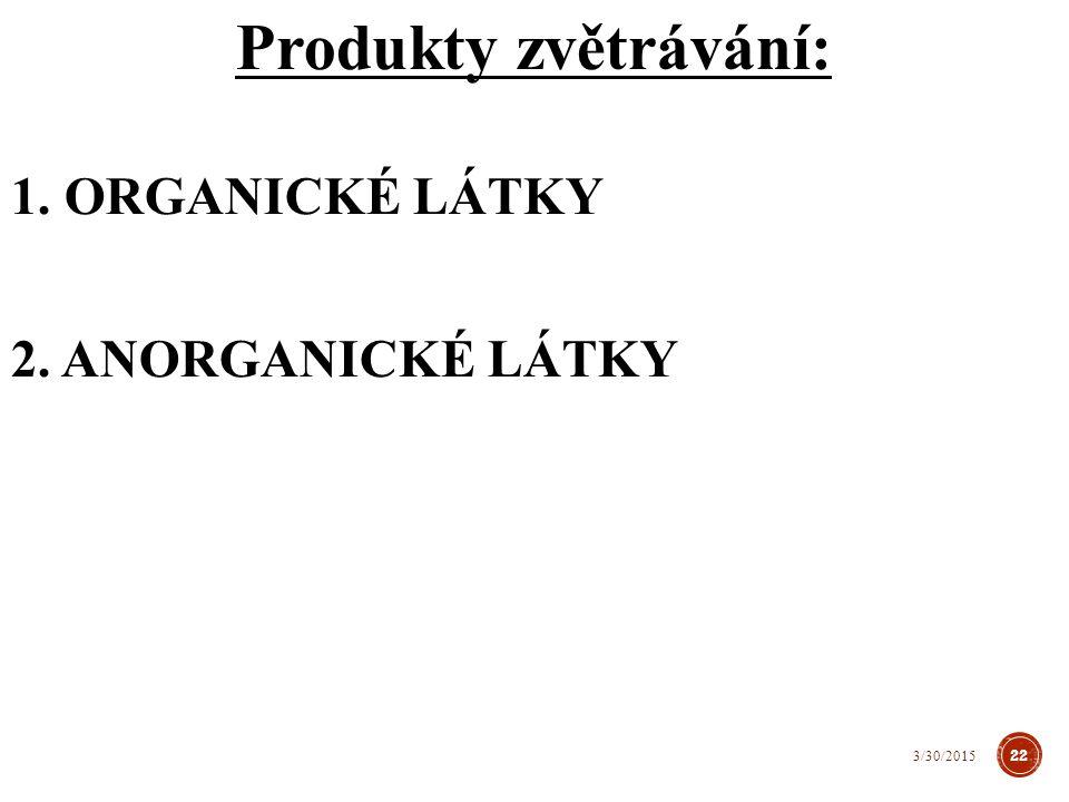 Produkty zvětrávání: ORGANICKÉ LÁTKY ANORGANICKÉ LÁTKY 4/8/2017