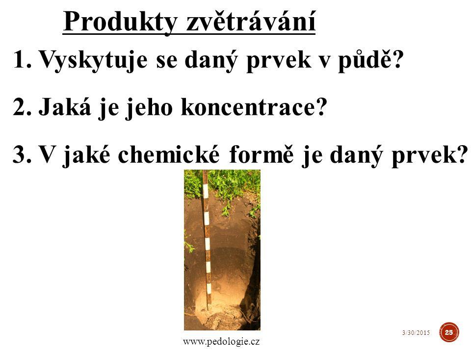 Produkty zvětrávání 1. Vyskytuje se daný prvek v půdě