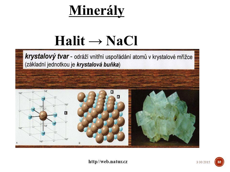 Minerály Halit → NaCl http//web.natur.cz 4/8/2017