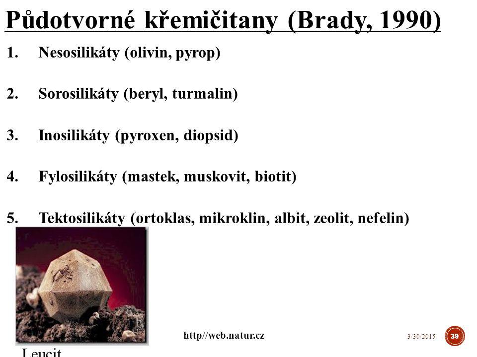 Půdotvorné křemičitany (Brady, 1990)