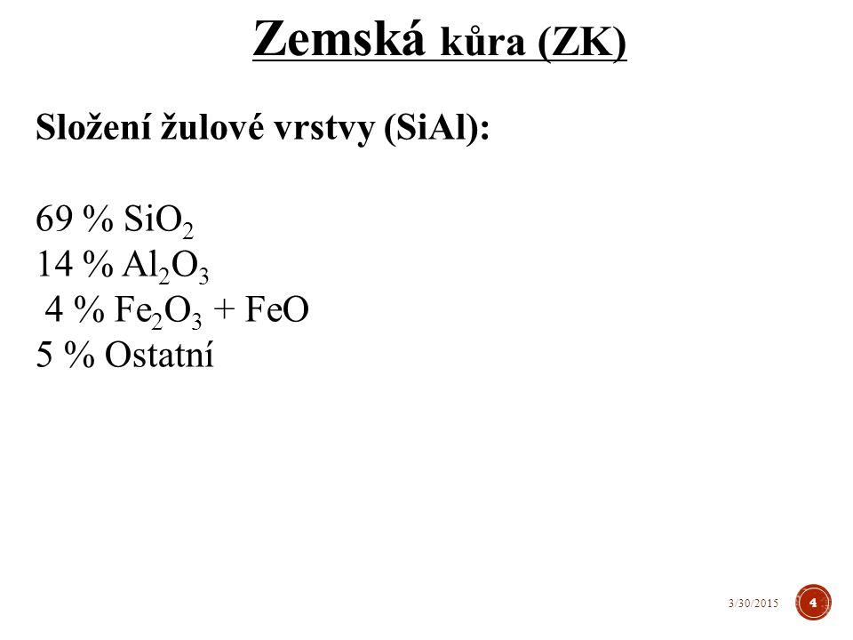 Zemská kůra (ZK) Složení žulové vrstvy (SiAl): 69 % SiO2 14 % Al2O3