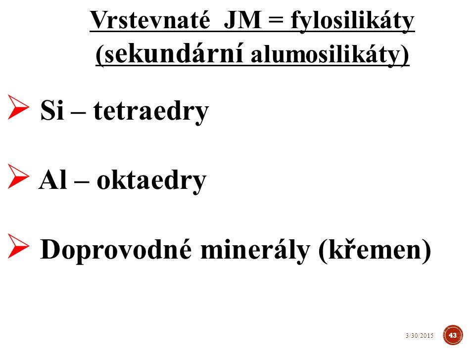 Vrstevnaté JM = fylosilikáty (sekundární alumosilikáty)