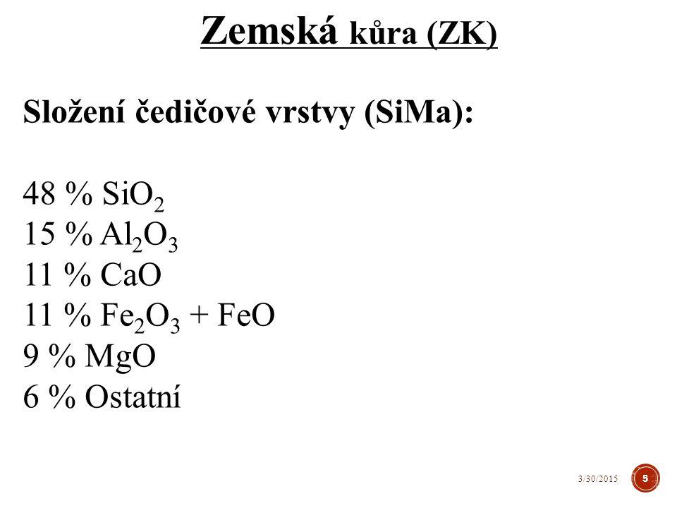 Zemská kůra (ZK) Složení čedičové vrstvy (SiMa): 48 % SiO2 15 % Al2O3