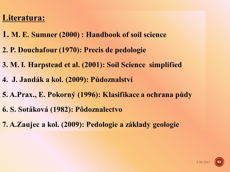 1. M. E. Sumner (2000) : Handbook of soil science