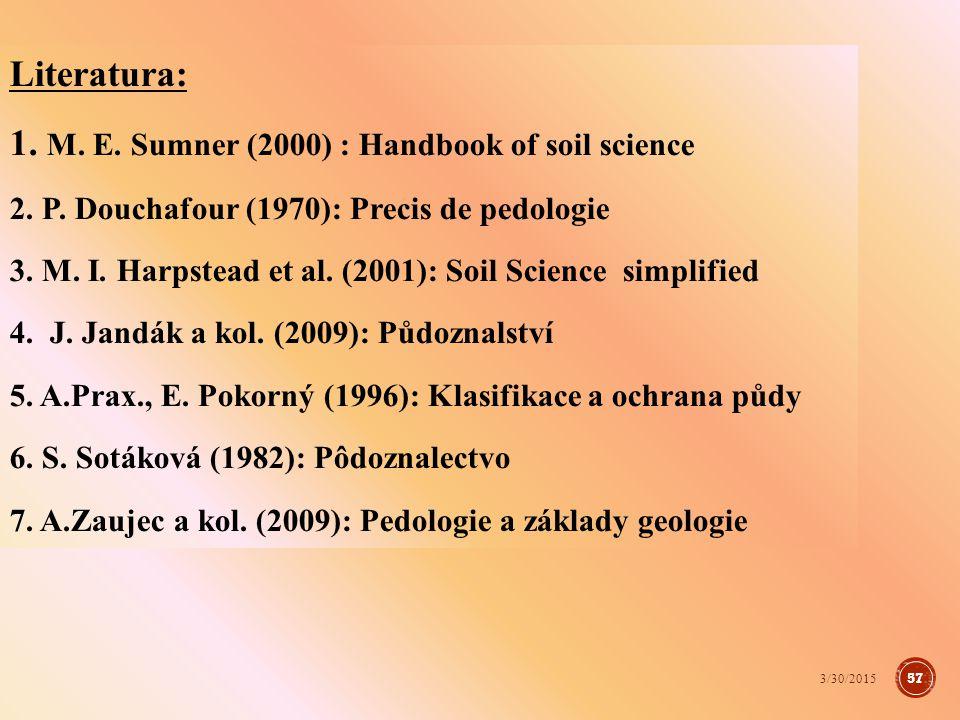 1. M. E. Sumner (2000) : Handbook of soil science