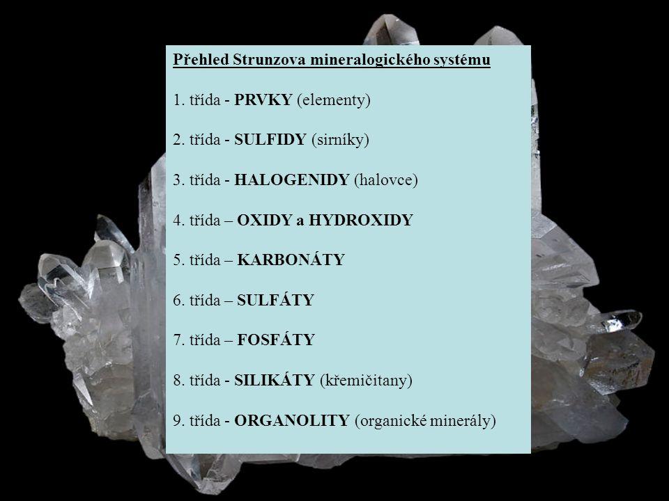 Přehled Strunzova mineralogického systému 1. třída: prvky (elementy)
