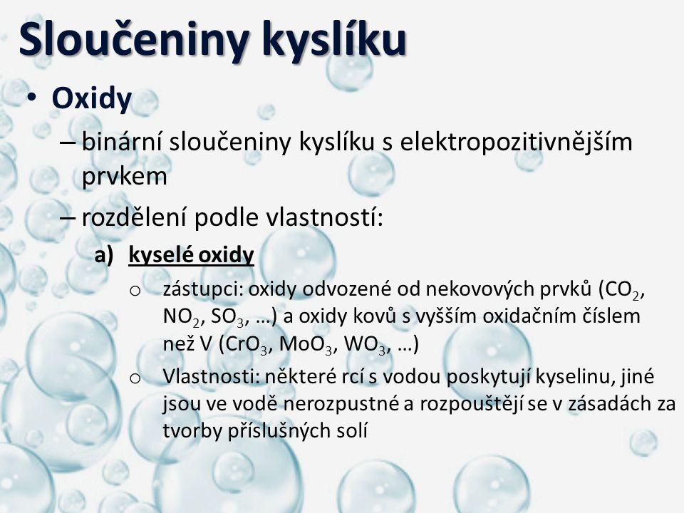 Sloučeniny kyslíku Oxidy
