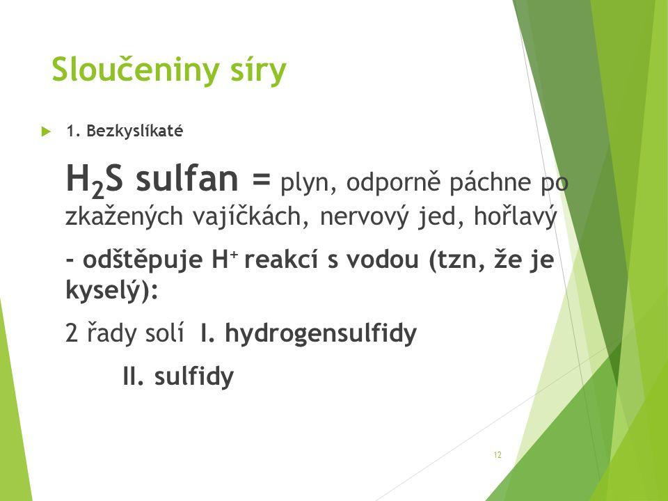 Sloučeniny síry - odštěpuje H+ reakcí s vodou (tzn, že je kyselý):
