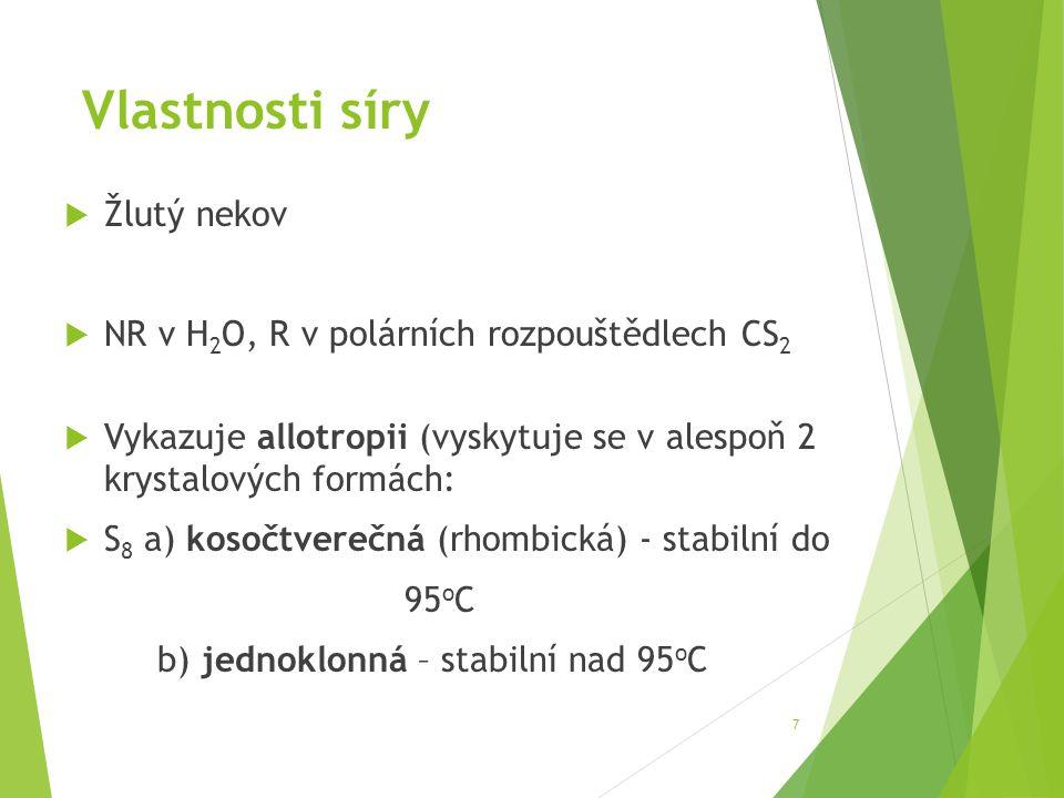 Vlastnosti síry Žlutý nekov NR v H2O, R v polárních rozpouštědlech CS2