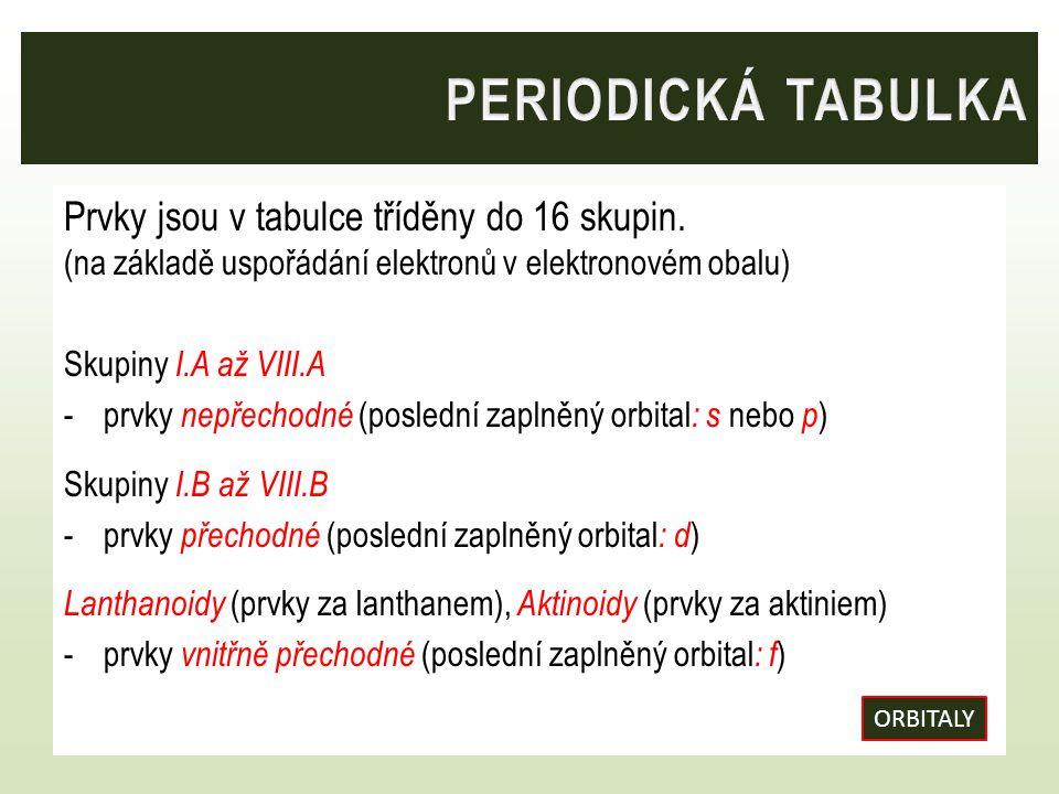 PERIODICKÁ TABULKA Prvky jsou v tabulce tříděny do 16 skupin. (na základě uspořádání elektronů v elektronovém obalu)