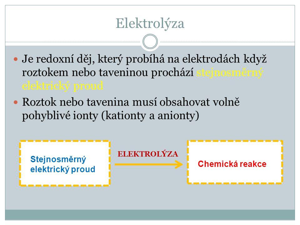 Elektrolýza Je redoxní děj, který probíhá na elektrodách když roztokem nebo taveninou prochází stejnosměrný elektrický proud.