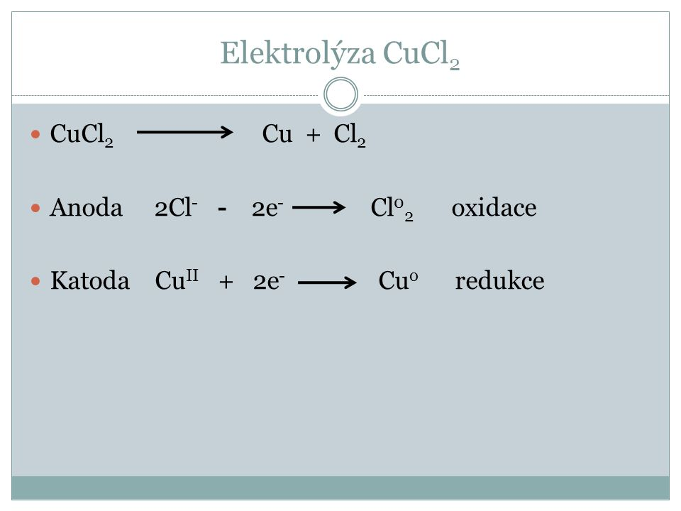 Elektrolýza CuCl2 CuCl2 Cu + Cl2 Anoda 2Cl- - 2e- Cl02 oxidace