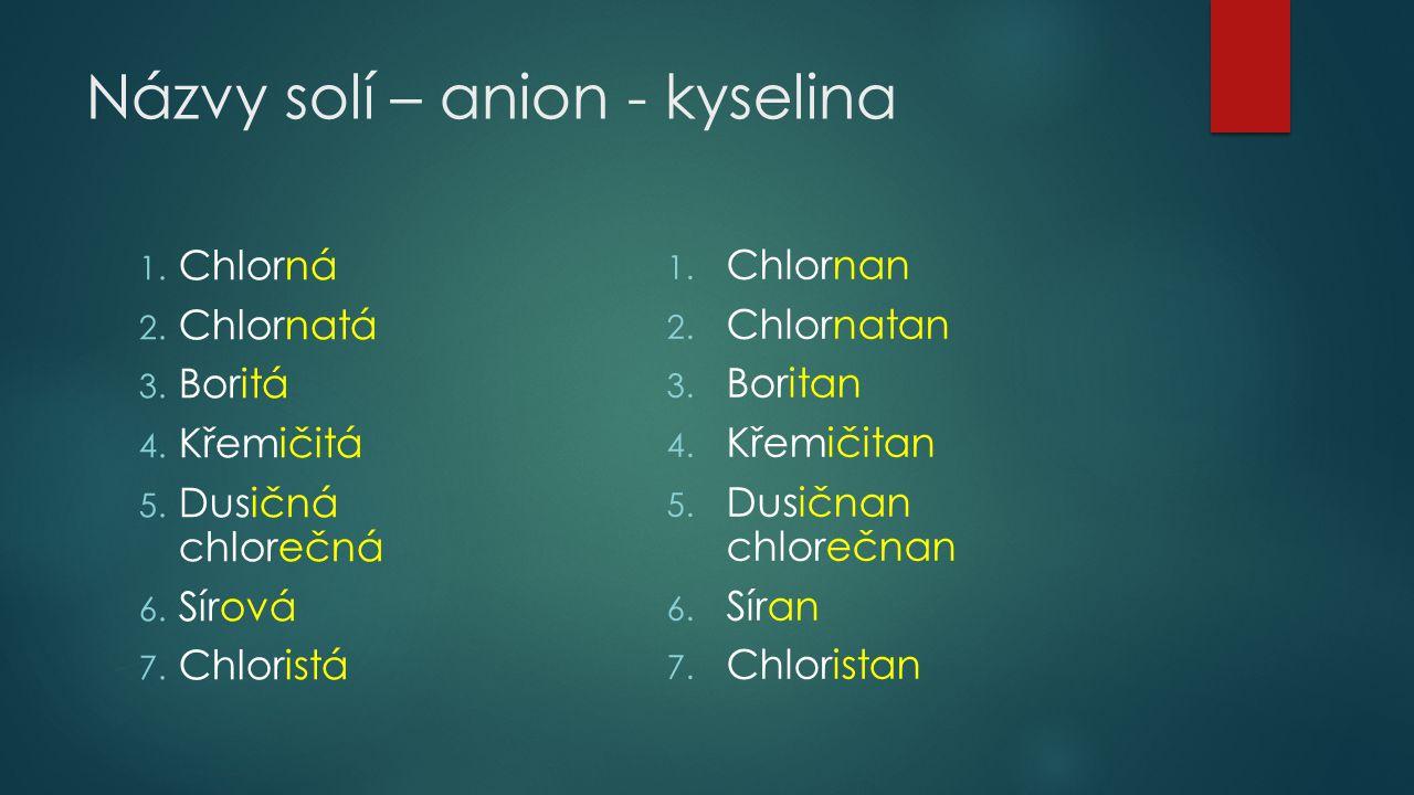 Názvy solí – anion - kyselina