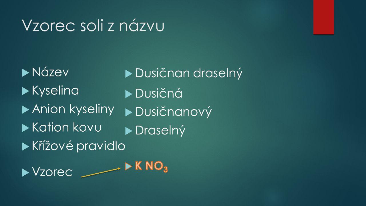 Vzorec soli z názvu Název Dusičnan draselný Kyselina Dusičná
