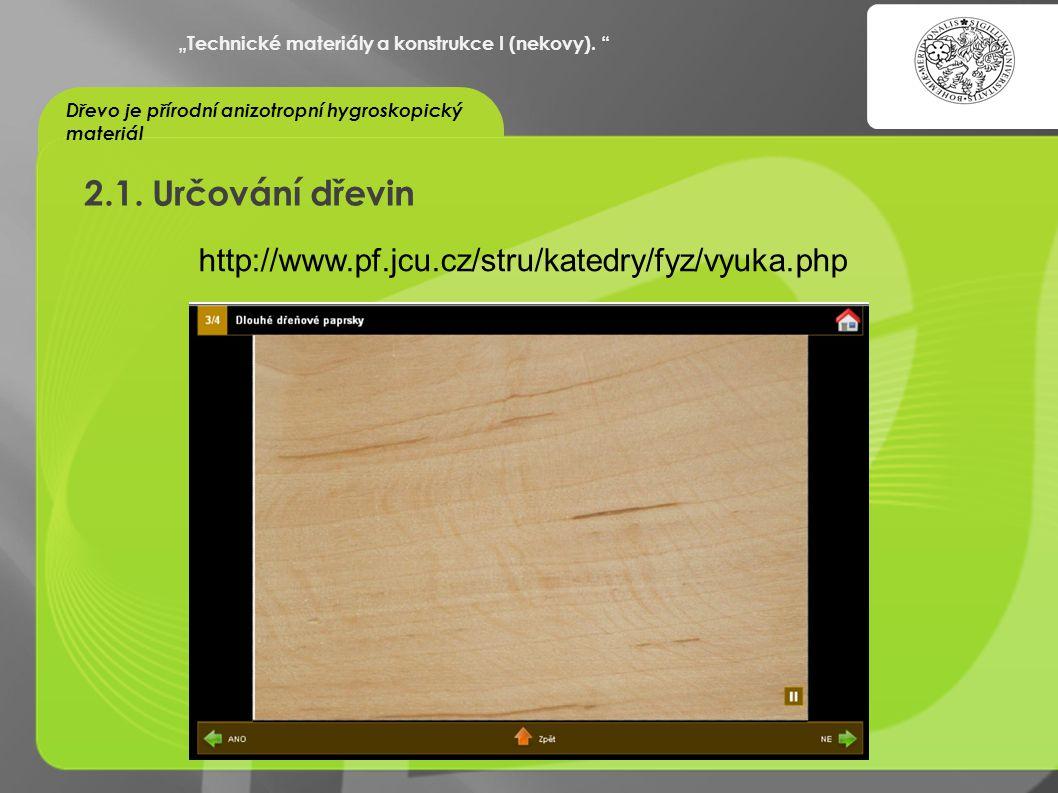 2.1. Určování dřevin http://www.pf.jcu.cz/stru/katedry/fyz/vyuka.php