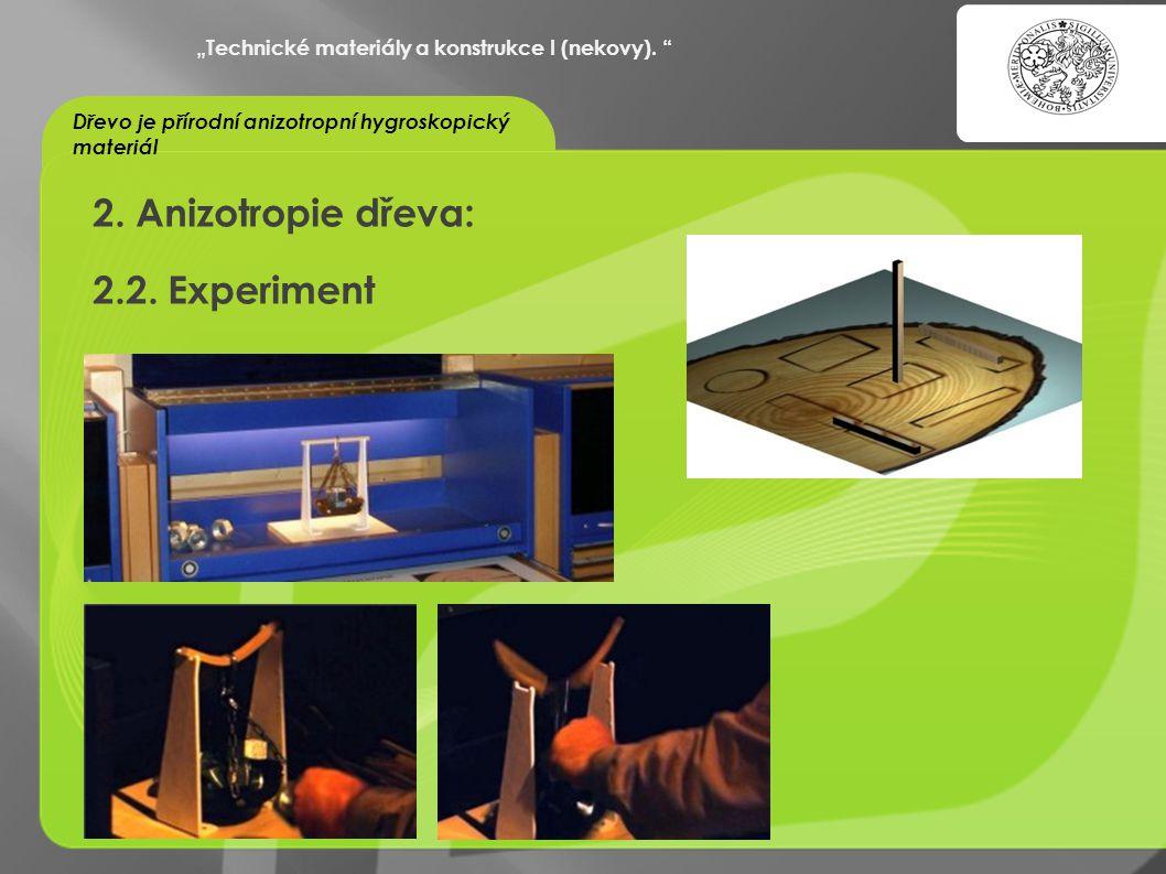 2. Anizotropie dřeva: 2.2. Experiment