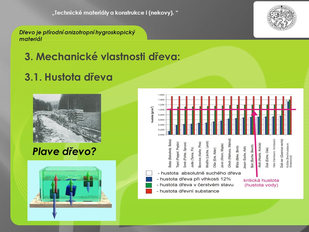 3. Mechanické vlastnosti dřeva: 3.1. Hustota dřeva