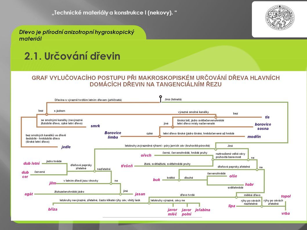 """2.1. Určování dřevin """"Technické materiály a konstrukce I (nekovy)."""