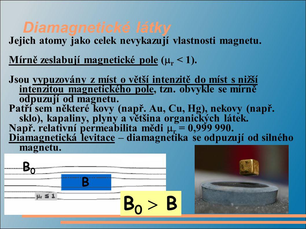 B0  B Diamagnetické látky B0 B