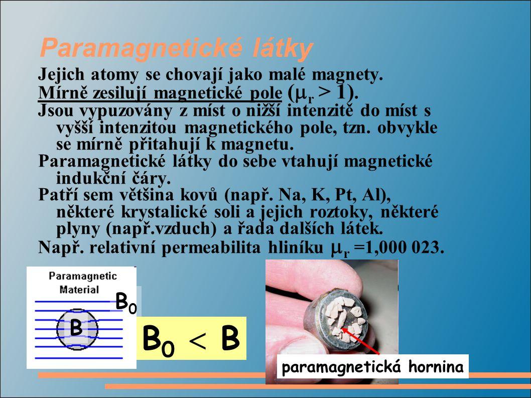 B0  B Paramagnetické látky B0 B