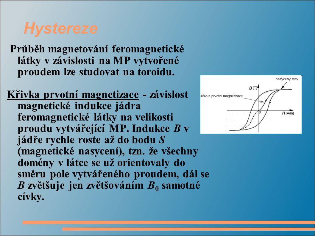 Hystereze Průběh magnetování feromagnetické látky v závislosti na MP vytvořené proudem lze studovat na toroidu.